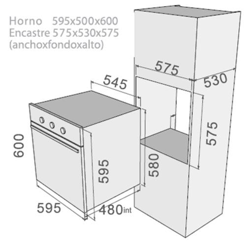 Fdv horno empotrado classic 2 0 b 60 for Mueble para encastrar horno y encimera