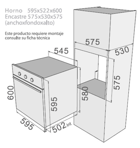 Fdv horno empotrado elegance 3 0 x 60 4 programas for Dimensiones horno empotrado